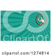 Clipart Of A Retro Woodcut Miner And Turquoise Rays Business Card Design Royalty Free Illustration