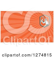 Clipart Of A Retro Woodcut Miner And Orange Rays Business Card Design Royalty Free Illustration