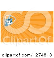 Clipart Of A Retro Cricket Batsman And Orange Rays Business Card Design Royalty Free Illustration