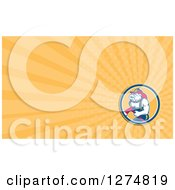 Clipart Of A Retro Bulldog Fire Fighter And Orange Rays Business Card Design Royalty Free Illustration