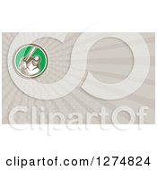 Clipart Of A Retro Cricket Batsman And Rays Business Card Design Royalty Free Illustration