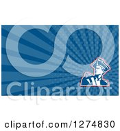 Clipart Of A Retro American Revolutionary Soldier And Blue Rays Business Card Design Royalty Free Illustration
