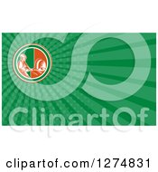 Clipart Of A Retro Woodcut Bread Maker And Green Rays Business Card Design Royalty Free Illustration