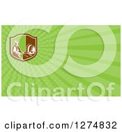 Clipart Of A Retro Woodcut Bread Maker And Light Green Rays Business Card Design Royalty Free Illustration