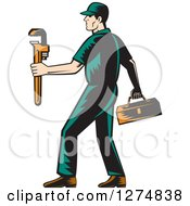 Retro Woodcut Male Plumber Walking With A Tool Box And Monkey Wrench