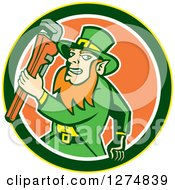 Poster, Art Print Of Leprechaun Plumber Holding A Monkey Wrench In A Yellow Green White And Orange Circle