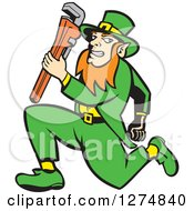 Poster, Art Print Of Leprechaun Plumber Holding A Monkey Wrench And Running