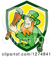 Leprechaun Plumber Holding A Monkey Wrench In A Green White And Yellow Shield