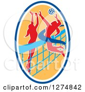 Clipart Of A Silhouetted Female Volleyball Player Blocking An Opponents Spike In A Blue White And Yellow Oval Royalty Free Vector Illustration