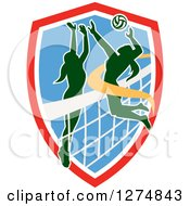 Clipart Of A Silhouetted Female Volleyball Player Blocking An Opponents Spike In A Red White And Blue Shield Royalty Free Vector Illustration
