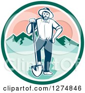 Retro Male Miner Prospector Resting A Foot On A Shovel In A Green White And Pink Circle