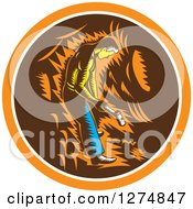 Clipart Of A Retro Woodcut Miner Working With A Sledghammer In An Orange White And Brown Circle Royalty Free Vector Illustration