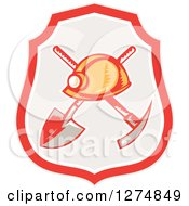Clipart Of A Retro Woodcut Miner Hat Over A Crossed Shovel And Pickaxe In A Shield Royalty Free Vector Illustration