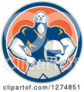 Clipart Of A Retro Male American Football Player Holding His Helmet In A Taupe Blue White And Orange Circle Royalty Free Vector Illustration