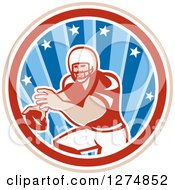 Clipart Of A Retro Male American Football Player Throwing In A Tan White Red And Blue Star Circle Royalty Free Vector Illustration by patrimonio