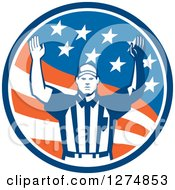 Retro American Football Referee Gesturing Touchdown In A Flag Circle