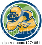 Clipart Of A Retro Male American Football Player Fending In A Blue White And Green Circle Royalty Free Vector Illustration