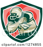 Clipart Of A Retro Male American Football Player Fending In A Green White And Red Shield Royalty Free Vector Illustration