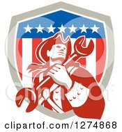 Clipart Of A Retro American Revolutionary Patriot Soldier Mechanic Man Holding A Spanner Wrench In A Shield Royalty Free Vector Illustration by patrimonio