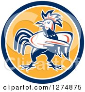 Clipart Of A Retro Rooster Pointing In A Blue White And Yellow Circle Royalty Free Vector Illustration