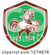 Clipart Of A Retro Rooster Pointing In A Brown White And Green Shield Royalty Free Vector Illustration