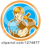 Poster, Art Print Of Retro Male Builder Construction Worker Holding A Hammer In An Orange White And Blue Circle