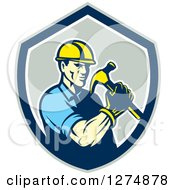 Clipart Of A Retro Male Builder Construction Worker Holding A Hammer In A Gray Blue And White Shield Royalty Free Vector Illustration