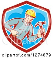 Clipart Of A Retro Male Builder Shouting And Holding A Hammer In A Red White And Blue Shield Royalty Free Vector Illustration