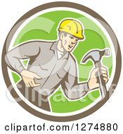 Clipart Of A Retro Male Builder Shouting And Holding A Hammer In A Taupe White And Green Circle Royalty Free Vector Illustration