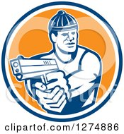 Clipart Of A Retro Male Robber Pointing A Gun In A Blue White And Orange Circle Royalty Free Vector Illustration