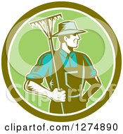 Clipart Of A Retro Woodcut Male Gardener Or Farmer Holding A Rake In A Green And White Circle Royalty Free Vector Illustration by patrimonio