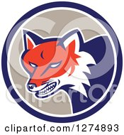 Clipart Of A Retro Fox Head Snarling In A Blue White And Taupe Circle Royalty Free Vector Illustration by patrimonio