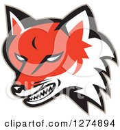 Clipart Of A Retro Fox Head Snarling Royalty Free Vector Illustration by patrimonio