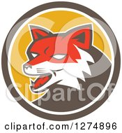 Clipart Of A Retro Fox Head In A Brown White And Yellow Circle Royalty Free Vector Illustration by patrimonio