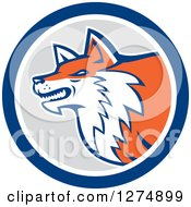 Clipart Of A Retro Fox Head In Profile Inside A Blue White And Gray Circle Royalty Free Vector Illustration