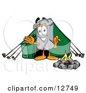 Clipart Picture Of A Garbage Can Mascot Cartoon Character Camping With A Tent And Fire