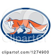 Clipart Of A Retro Fox In Profile Inside A Blue White And Gray Oval Royalty Free Vector Illustration by patrimonio