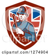 Clipart Of A London Bobby Police Officer Holding A Baton In A British Flag Shield Royalty Free Vector Illustration