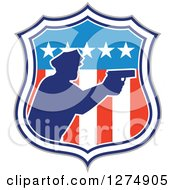 Clipart Of A Retro Blue Silhouetted Male Police Officer Aiming A Firearm In An American Flag Circle Royalty Free Vector Illustration