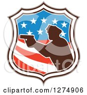 Clipart Of A Retro Silhouetted Male Police Officer Aiming A Firearm In An American Flag Circle Royalty Free Vector Illustration