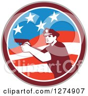 Retro Male Police Officer Aiming A Firearm In An American Flag Circle