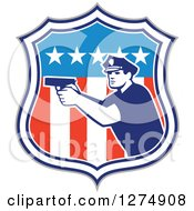Clipart Of A Retro Male Police Officer Aiming A Firearm In An American Flag Shield Royalty Free Vector Illustration