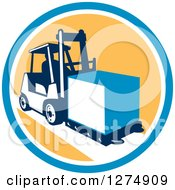 Clipart Of A Retro Forklift Moving A Box In A Blue White And Yellow Circle Royalty Free Vector Illustration by patrimonio