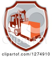 Clipart Of A Retro Forklift Moving A Box In A Gray Maroon And White Shield Royalty Free Vector Illustration by patrimonio