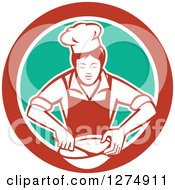 Clipart Of A Retro Female Chef Mixing Ingredients In A Bowl Inside A Red White And Green Circle Royalty Free Vector Illustration by patrimonio