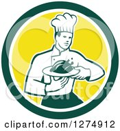 Clipart Of A Retro Male Chef Holding A Roasted Chicken On A Plate In A Green White And Yellow Circle Royalty Free Vector Illustration