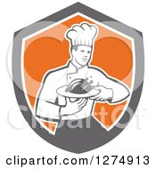 Clipart Of A Retro Male Chef Holding A Roasted Chicken On A Plate In A Shield Royalty Free Vector Illustration