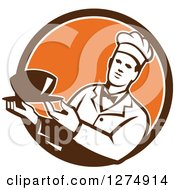 Clipart Of A Male Chef Holding A Bowl Of Soup In A Brown White And Orange Circle Royalty Free Vector Illustration