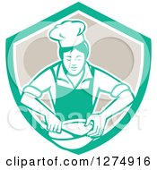 Clipart Of A Retro Female Chef Mixing Ingredients In A Bowl Inside A Green White And Taupe Shield Royalty Free Vector Illustration