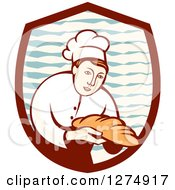 Retro Female Baker Holding Out Bread In A Shield